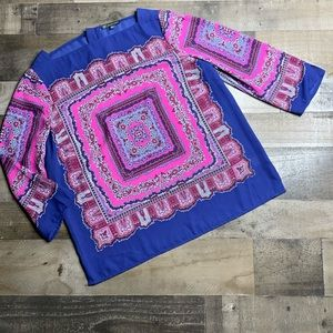 ADRIANNA PAPPELL MULTICOLORED SQUARE NECK TOP Sz L